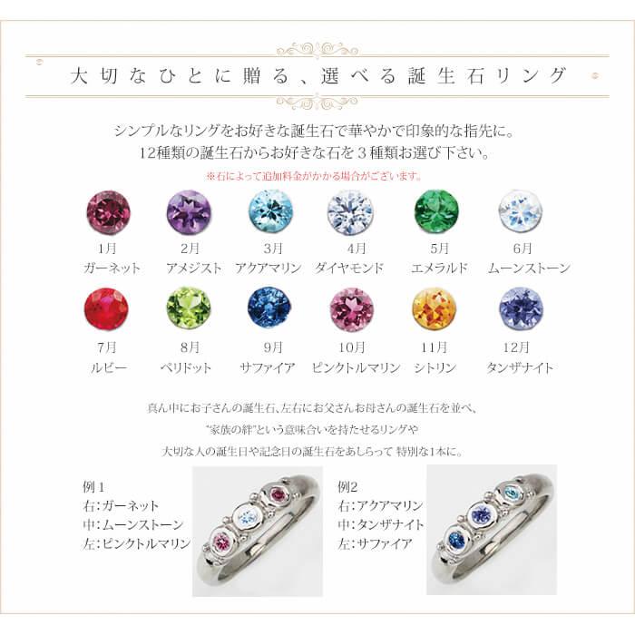 【チタンアクセサリー レジエ】純チタン製リング 誕生石一覧